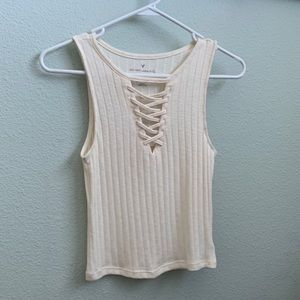 American eagle comfortable ribbed lace up tank!
